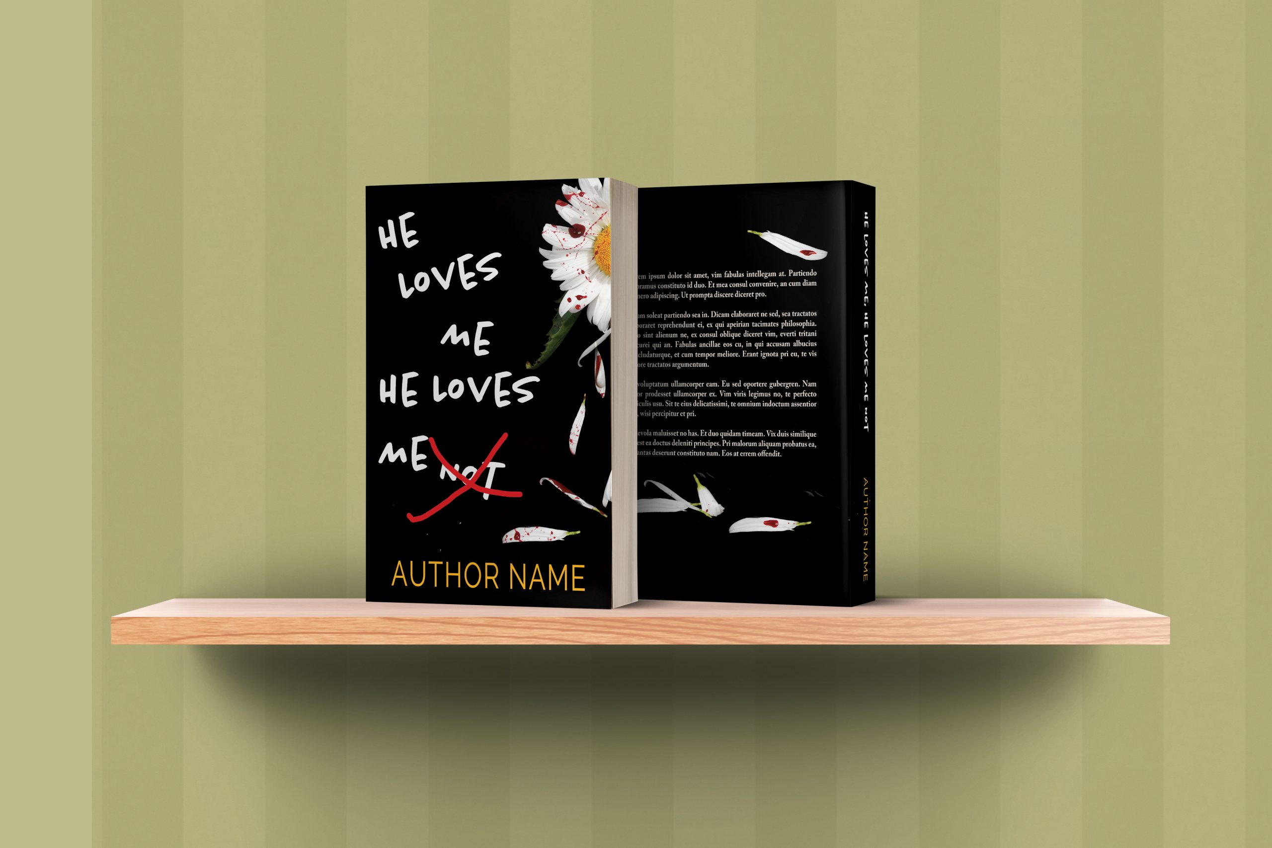 He Loves Me He Loves Me Not Mystery Thriller Premade Book Cover graphic shelf