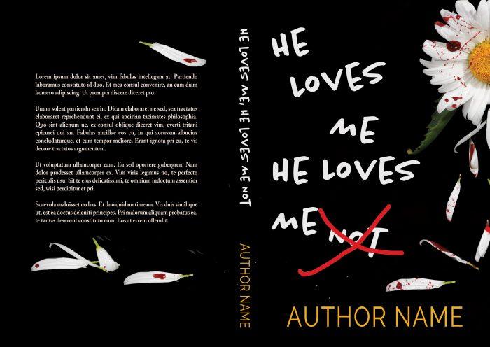 He Loves Me He Loves Me Not Mystery Thriller Premade Book Print Cover