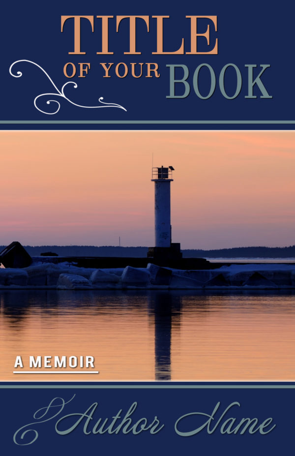 Lighthouse with lake or seashore memoir-type premade book cover