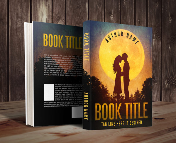 Sweet romance couple silhouette premade book cover mockup