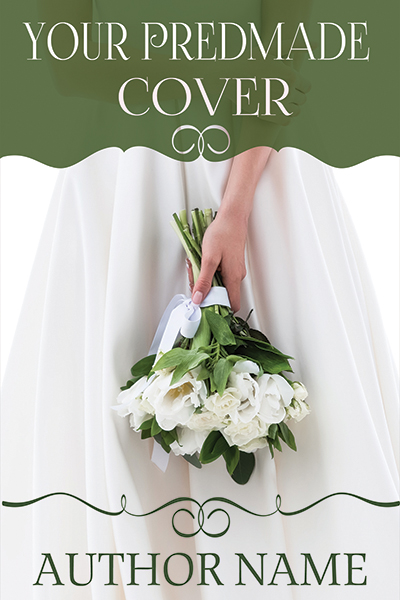 Wedding dress bouquet premade book cover for contemporary and sweet romance