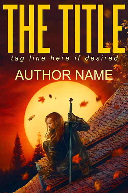 Night warrior with sword and a red sunset fantasy, thriller or suspense premade book cover.