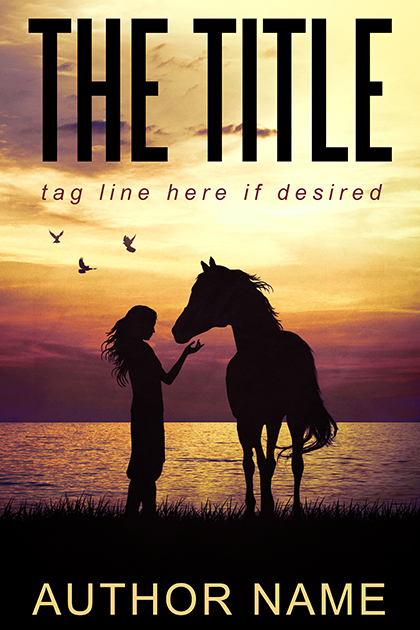 Girl Horse Silhouette Western Sunset Romance premade book cover
