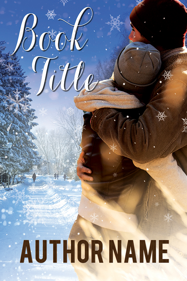 Christmas holiday winter scene with embracing couple premade book cover