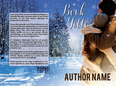 Christmas holiday winter scene with embracing couple premade print book cover