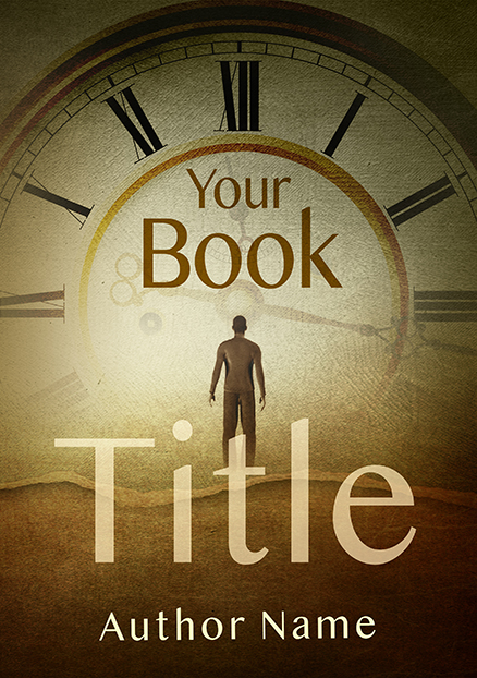 Abstract surreal man looking clock premade book cover
