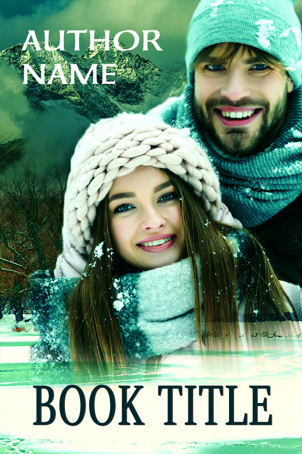 Holiday or Christmas couple with winter snow and mountains premade book cover