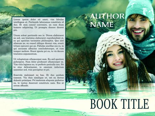 Holiday or Christmas couple with winter snow and mountains premade print book cover