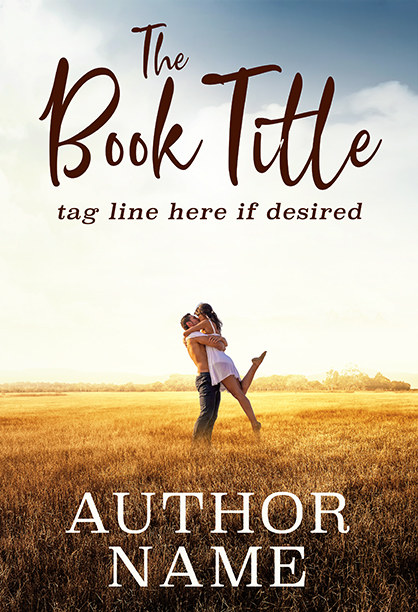 Nature sunny field with couple kissing premade book cover by Dani