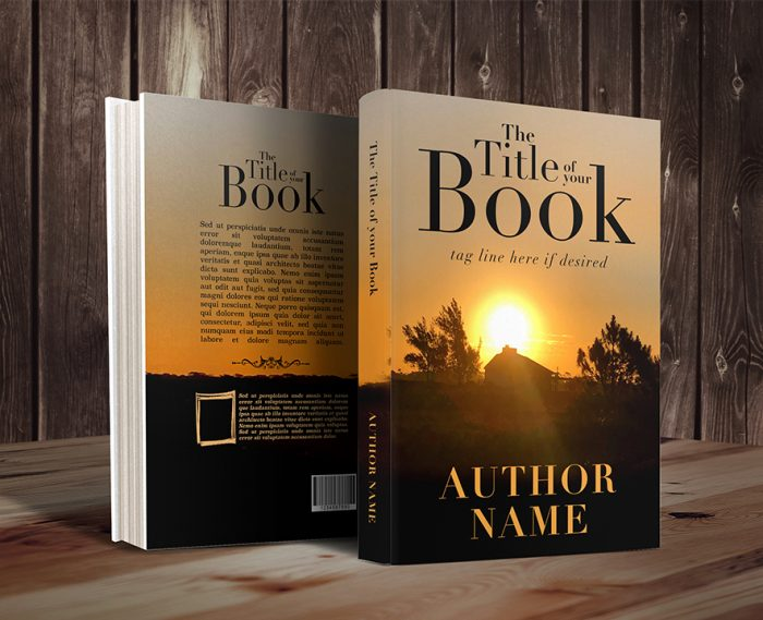 Country field sunset silhouette premade book cover_3D