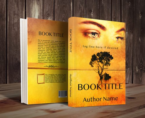 romantic woman's eyes and tree premade book cover graphic - 3D
