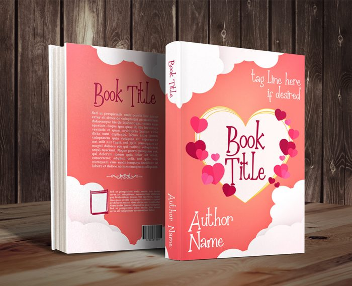 Romantic hearts and clouds premade book cover graphic by Dani 57