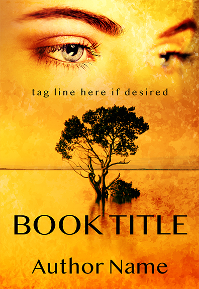 romantic woman's eyes and tree premade book cover graphic