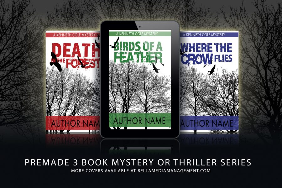 Three book premade book cover series for mystery or thriller authors