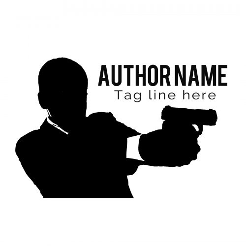 Man with gun premade mystery suspense or thriller author logo