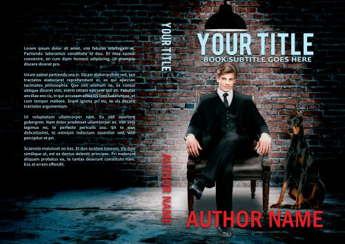Man in chair with doberman premade book cover for thriller, mystery, or suspense authors