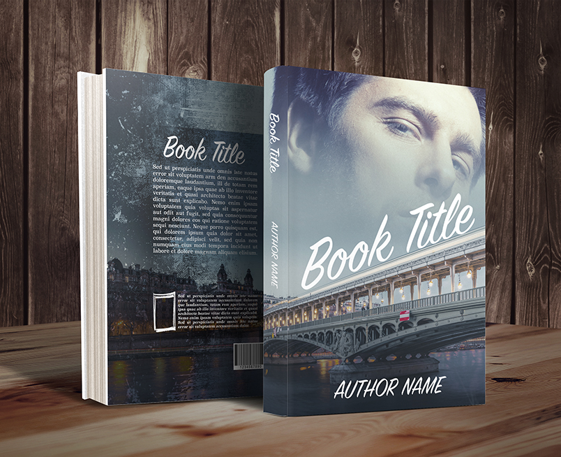 Paris France bridge with handsome mature man premade book cover by Dani graphic