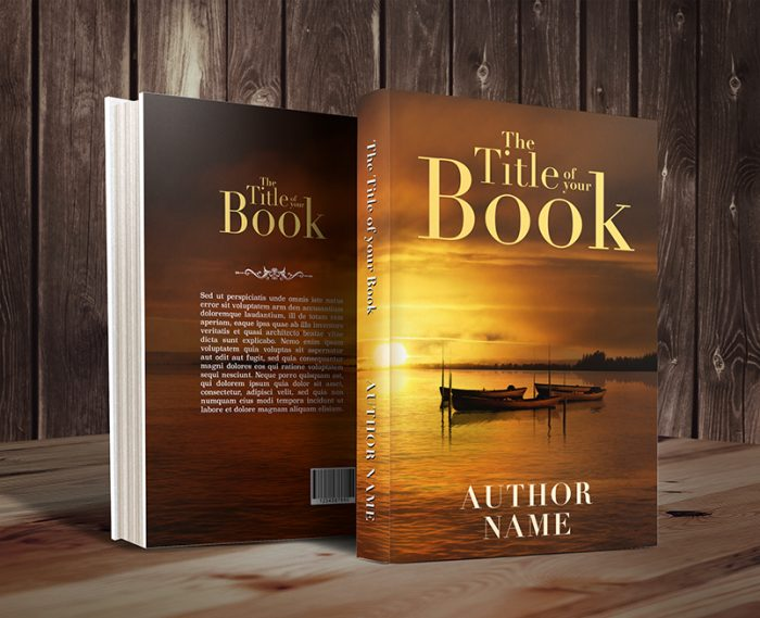 Sunset lake boats premade book cover by Dani graphic