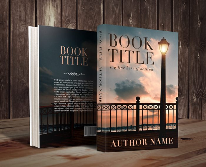 Sunset premade book cover with victorian lampgraphic