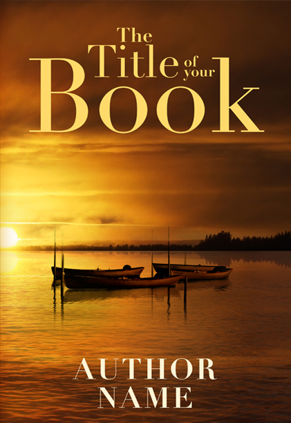 Sunset lake boats premade book cover by Dani