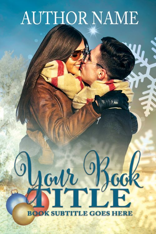 Christmas scene with embracing couple premade book cover