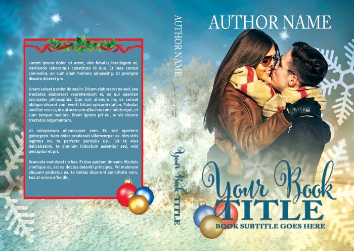 Christmas scene with embracing couple premade book print cover