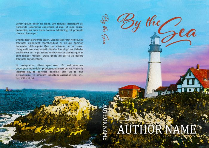 sweet romance or fiction lighthouse seashore premade book cover print