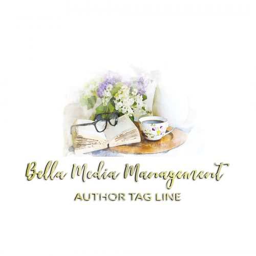 Glasses and book with flowers premade author logo design in gold