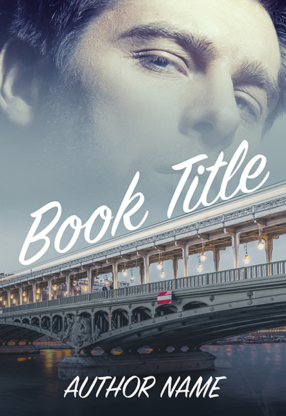 Paris France bridge with handsome mature man premade book cover by Dani