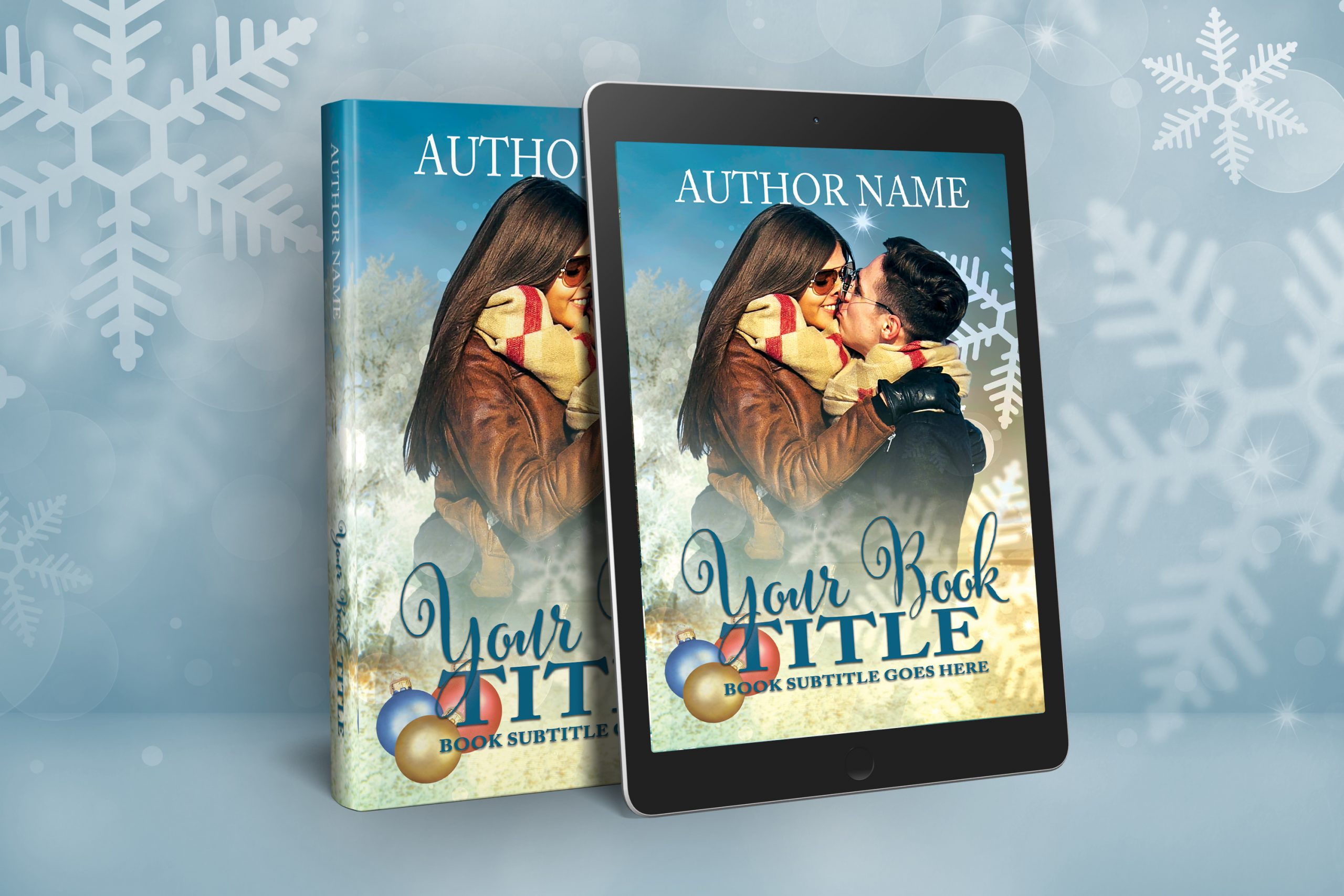 Christmas scene with embracing couple premade book print cover graphic