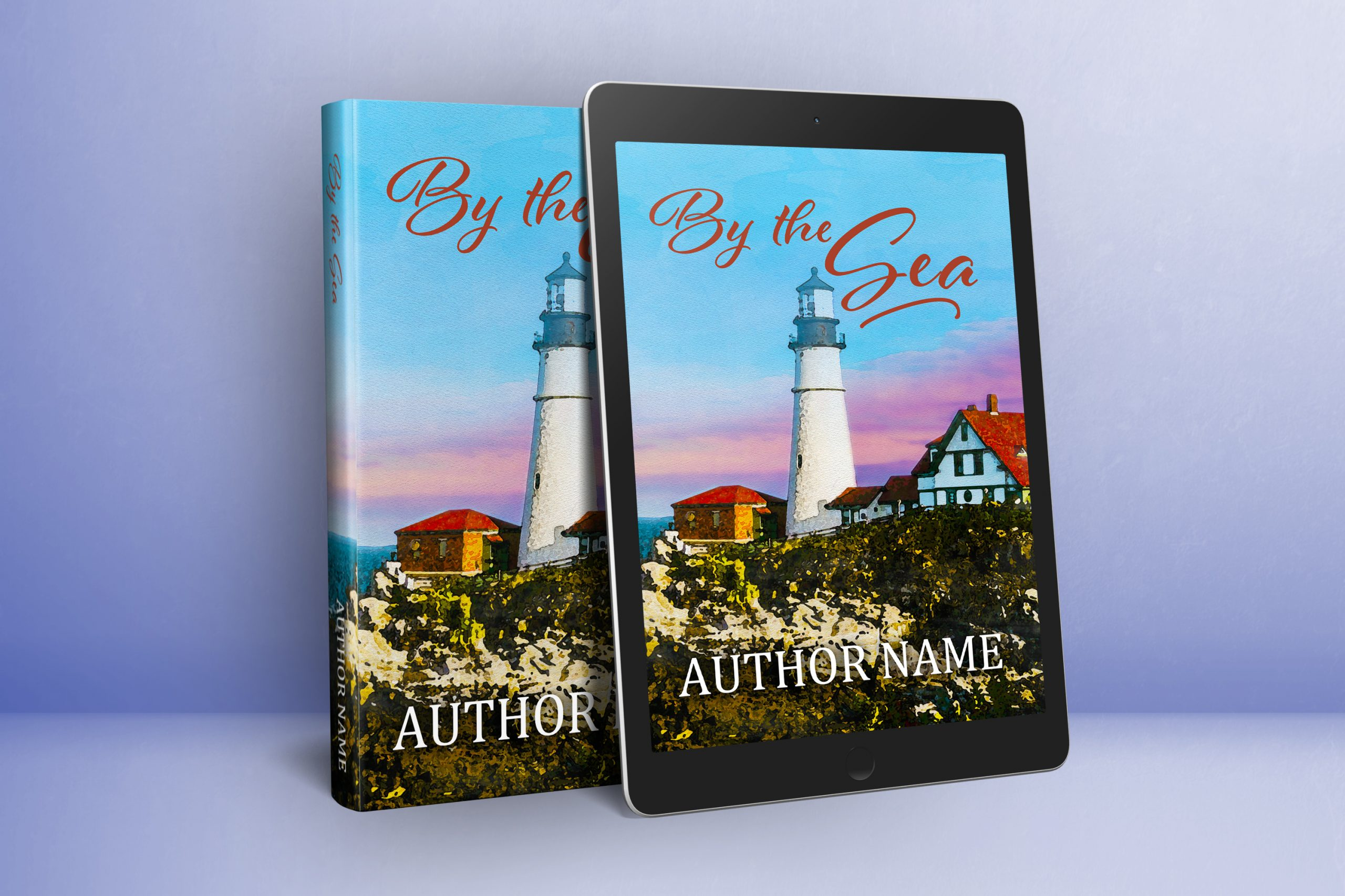 sweet romance or fiction lighthouse seashore premade book cover graphic
