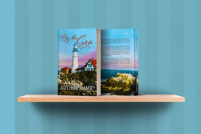 sweet romance or fiction lighthouse seashore premade book cover shelf